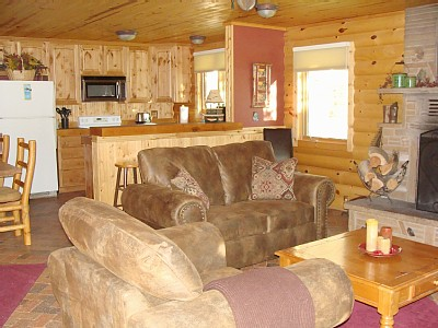 Payson cabin rental - Livingroom and kitchen view